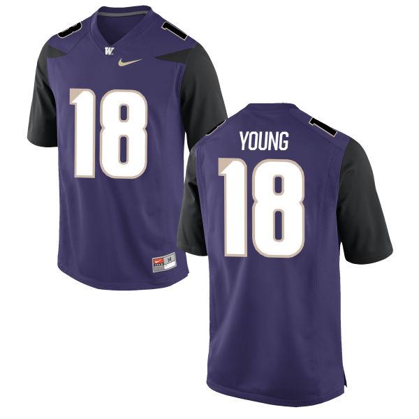 Men's Nike K.J. Young Washington Huskies Game Purple Football Jersey