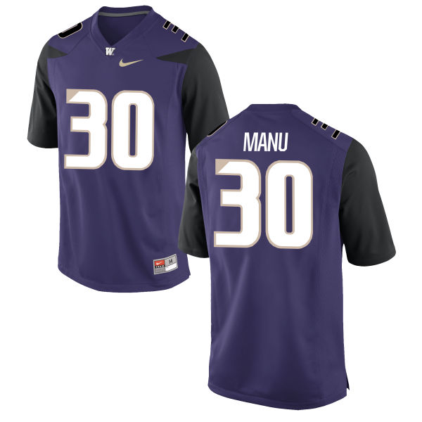 Men's Nike Kyler Manu Washington Huskies Game Purple Football Jersey