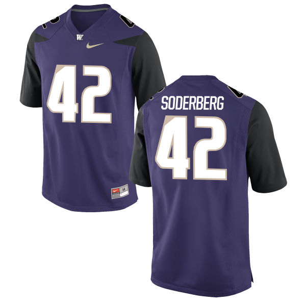 Men's Nike Van Soderberg Washington Huskies Replica Purple Football Jersey