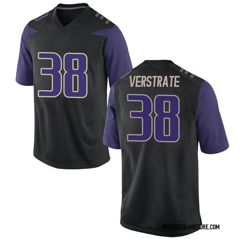 Men's Nike Camden VerStrate Washington Huskies Game Black Football College Jersey