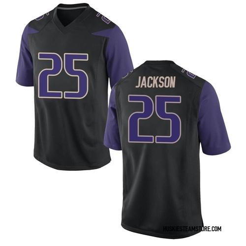 Men's Nike Elijah Jackson Washington Huskies Game Black Football College Jersey