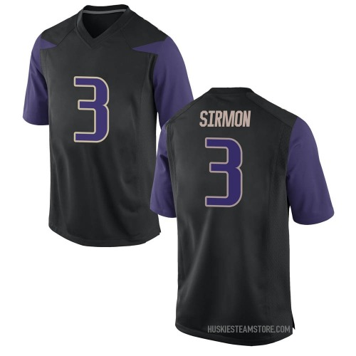 Men's Nike Jacob Sirmon Washington Huskies Replica Black Football College Jersey