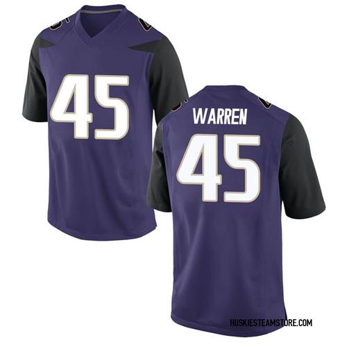 Men's Nike Jusstis Warren Washington Huskies Game Purple Football College Jersey