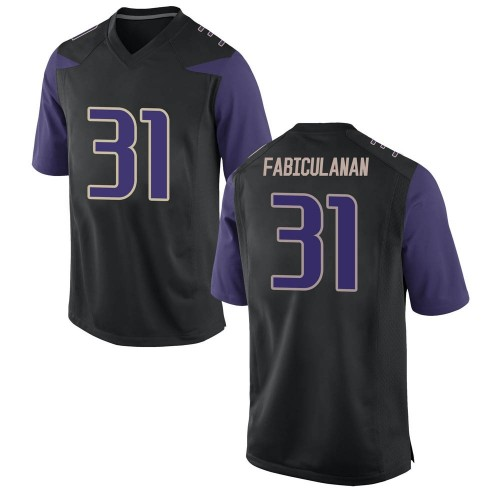Men's Nike Kamren Fabiculanan Washington Huskies Game Black Football College Jersey