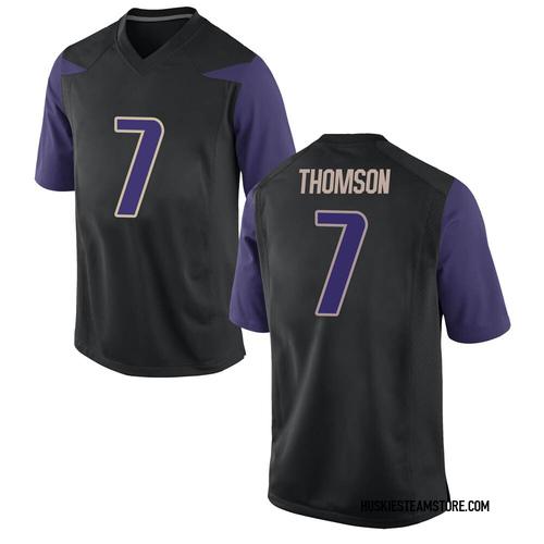 Men's Nike Kevin Thomson Washington Huskies Game Black Football College Jersey