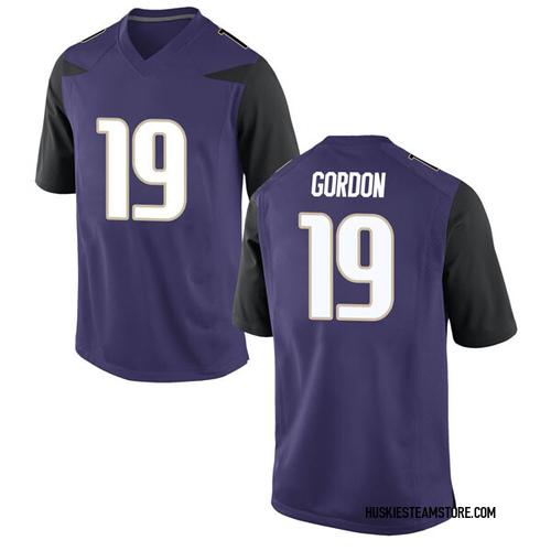 Men's Nike Kyler Gordon Washington Huskies Game Purple Football College Jersey