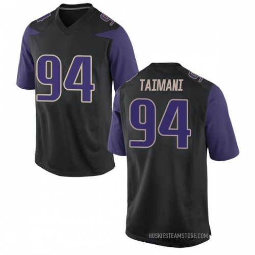 Men's Nike Sam Taimani Washington Huskies Game Black Football College Jersey