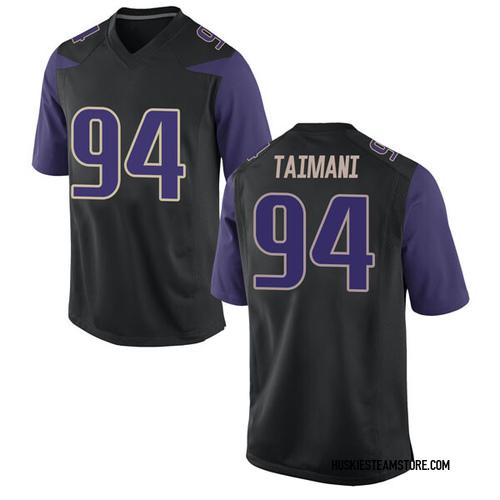 Men's Nike Sam Taimani Washington Huskies Replica Black Football College Jersey