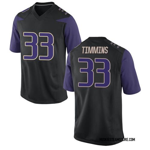 Men's Nike Sam Timmins Washington Huskies Game Black Football College Jersey