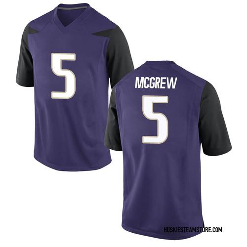 Men's Nike Sean McGrew Washington Huskies Game Purple Football College Jersey