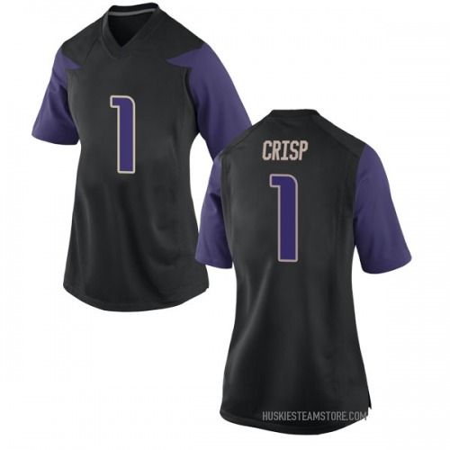 Women's Nike David Crisp Washington Huskies Replica Black Football College Jersey