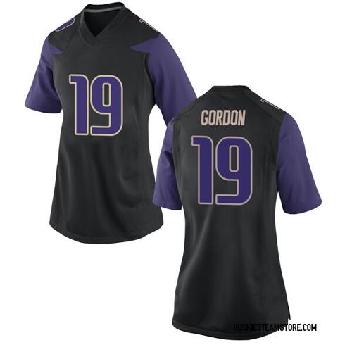 Women's Nike Kyler Gordon Washington Huskies Replica Black Football College Jersey
