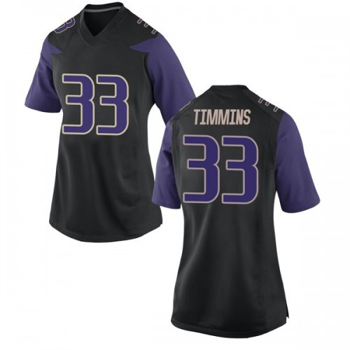 Women's Nike Sam Timmins Washington Huskies Game Black Football College Jersey