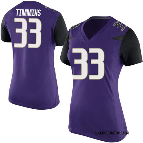 Women's Nike Sam Timmins Washington Huskies Game Purple Football College Jersey