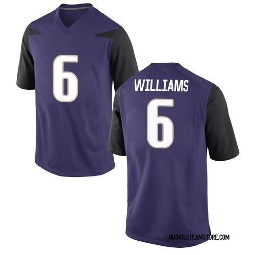 Youth Nike Cameron Williams Washington Huskies Game Purple Football College Jersey