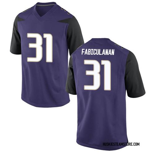 Youth Nike Kamren Fabiculanan Washington Huskies Game Purple Football College Jersey