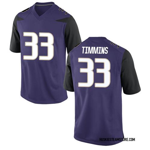 Youth Nike Sam Timmins Washington Huskies Game Purple Football College Jersey
