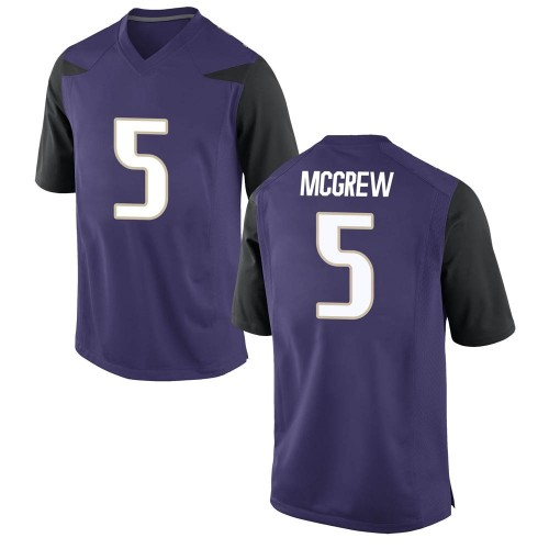 Youth Nike Sean McGrew Washington Huskies Game Purple Football College Jersey